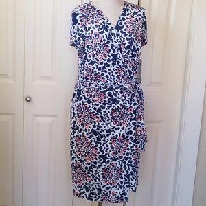 NINA LEONARD Floral Wrap Dress New M